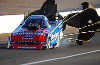 Oct. 28 2011; Las Vegas, NV, USA: NHRA funny car driver Bob Tasca III during qualifying for the Big O Tires Nationals at The Strip at Las Vegas Motor Speedway. Mandatory Credit: Mark J. Rebilas-US PRESSWIRE