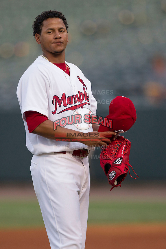 Memphis Redbirds starting pitcher Carlos Martinez (41) before the Pacific Coast League baseball game against the New Orleans Zephyrs on June 12, 2013 at Autozone Park in Memphis, Tennessee. Memphis defeated New Orleans 9-3. (Andrew Woolley/Four Seam Images)
