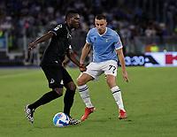 28th August 2021; Olympic Stadium, Rome, Italy; Serie A football, SS Lazio versus AC Spezia : Adam Marusic of Lazio holds up the Spezia attack