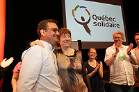 Therese David and Andres Fontecilla, Quebec Solidaire at a rally  on <br /> May 5 2013<br /> <br /> File Photo : Agence Quebec Presse  - Pierre Roussel