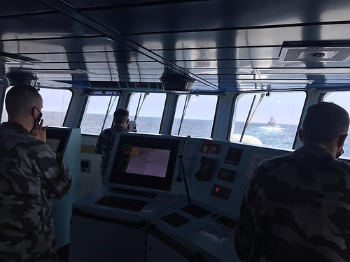 On the bridge with a Dublin-bound Naval Service crew taking part in Fleet Exercise 75 | Credit: Irish Naval Service/Facebook