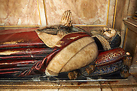 Tomb of John Still (1543–1607), bishop of Bath and Wells in the medieval Wells Cathedral built in the Early English Gothic style in 1175, Wells Somerset, England