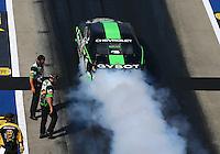 Jun 17, 2016; Bristol, TN, USA; Crew members with NHRA pro stock driver Alex Laughlin during qualifying for the Thunder Valley Nationals at Bristol Dragway. Mandatory Credit: Mark J. Rebilas-USA TODAY Sports