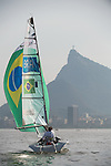 Rio 2016 - Para Sailing // Voile adaptée.<br /> John McRoberts and Jackie Gay compete in the 2-Person Keelboat (SKUD18) // John McRoberts et Jackie Gay participent au quillard pour 2 personnes (SKUD18). 13/09/2016.