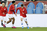 TORONTO, ON - OCTOBER 15: Christian Pulisic #10 of the United States warms up during a game between Canada and USMNT at BMO Field on October 15, 2019 in Toronto, Canada.