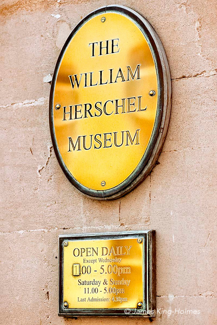 The brass plate at the entrance to the Herschel Museum of Astronomy in Bath, UK. The Museum is housed in the building in which William and Caroline Herschel lived and worked from 1772 until 1782.