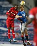 25.02.2021 Rangers v Royal Antwerp: Didier Lamkel Ze and Filip Helander