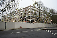 View of the old US Embassy site in Grosvenor Square. The deserted streets show the severe effects of the COVID-19 epidemic on London on the morning of 19th March 2020