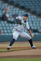 Lynchburg Hillcats starting pitcher Kirk McCarty (24) in action against the Winston-Salem Dash at BB&T Ballpark on August 1, 2019 in Winston-Salem, North Carolina. The Dash defeated the Hillcats 9-7. (Brian Westerholt/Four Seam Images)