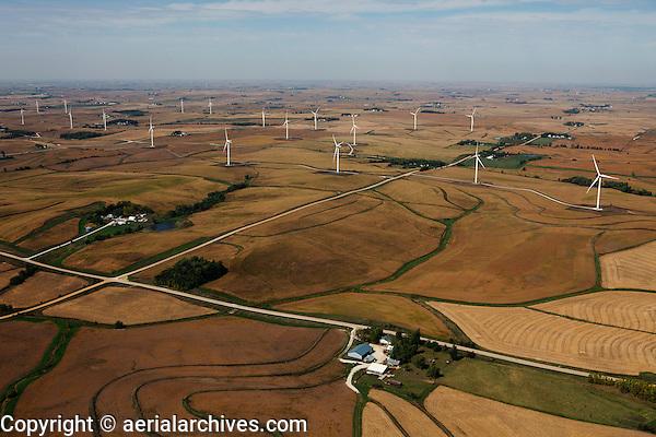 aerial photograph of a wind turbine farm in Iowa