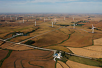 aerial photograph of a wind turbine farm in Iowa