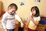 Education Preschool pretend play two girls talking on telephones