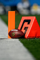21 October 2007: A football and the goal markers props sit on the turf prior to a game between the Buffalo Bills and the Baltimore Ravens at Ralph Wilson Stadium in Orchard Park, NY. The Bills defeated the Ravens 19-14 in front of 70,727 fans marking their second win of the 2007 season...Mandatory Photo Credit: Ed Wolfstein Photo
