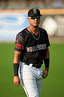 Fayetteville Woodpeckers second baseman Miguelangel Sierra (3) during warmups before a Carolina League game against the Down East Wood Ducks on August 13, 2019 at SEGRA Stadium in Fayetteville, North Carolina.  Fayetteville defeated Down East 5-3.  (Mike Janes/Four Seam Images)