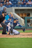 Caleb Joseph (14) of the Reno Aces on defense against the Nashville Sounds at Greater Nevada Field on June 5, 2019 in Reno, Nevada. The Aces defeated the Sounds 3-2. (Stephen Smith/Four Seam Images)