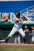 West Virginia Black Bears left fielder Edison Lantigua (18) at bat during a game against the Batavia Muckdogs on July 1, 2018 at Dwyer Stadium in Batavia, New York.  Batavia defeated West Virginia 8-4.  (Mike Janes/Four Seam Images)
