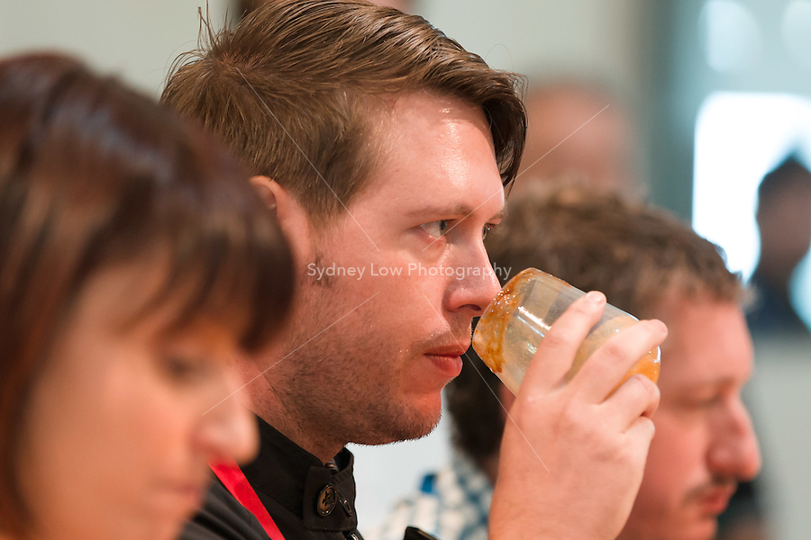 March 15, 2015: Matt Lewin competing in the 2015 Australian Barista Championships at the Showgrounds, Melbourne, Australia. Photo Sydney Low.