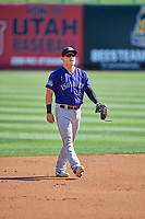 Pat Valaika (8) of the Albuquerque Isotopes during the game against the Salt Lake Bees at Smith's Ballpark on April 27, 2019 in Salt Lake City, Utah. The Isotopes defeated the Bees 10-7. This was a makeup game from April 26, 2019 that was cancelled due to rain. (Stephen Smith/Four Seam Images)