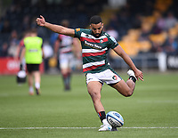 29th May 2021; Sixways Stadium, Worcester, Worcestershire, England; Premiership Rugby, Worcester Warriors versus Leicester Tigers; Zack Henry of Leicester Tigers kicks a conversion
