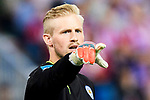 Goalkeeper Kasper Schmeichel of Leicester City in action during their 2016-17 UEFA Champions League Quarter-Finals 1st leg match between Atletico de Madrid and Leicester City at the Estadio Vicente Calderon on 12 April 2017 in Madrid, Spain. Photo by Diego Gonzalez Souto / Power Sport Images