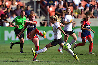 Houston, TX - Sunday Oct. 09, 2016: Victoria Huster, McCall Zerboni during a National Women's Soccer League (NWSL) Championship match between the Washington Spirit and the Western New York Flash at BBVA Compass Stadium.