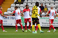 Jamie Reid of Stevenage FC scores the first Goal and celebrates during Stevenage vs Watford, Friendly Match Football at the Lamex Stadium on 27th July 2021