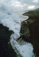 Aerial view of Hawaiian lava flow and steam. Hawaii.