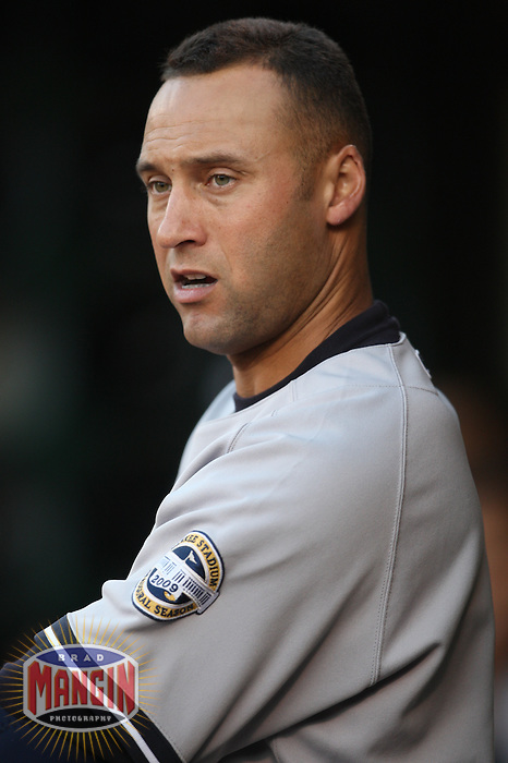 OAKLAND, CA - AUGUST 17:  Derek Jeter #2 of the New York Yankees waits to hit against the Oakland Athletics during the game at the Oakland-Alameda County Coliseum on August 17, 2009 in Oakland, California. Photo by Brad Mangin