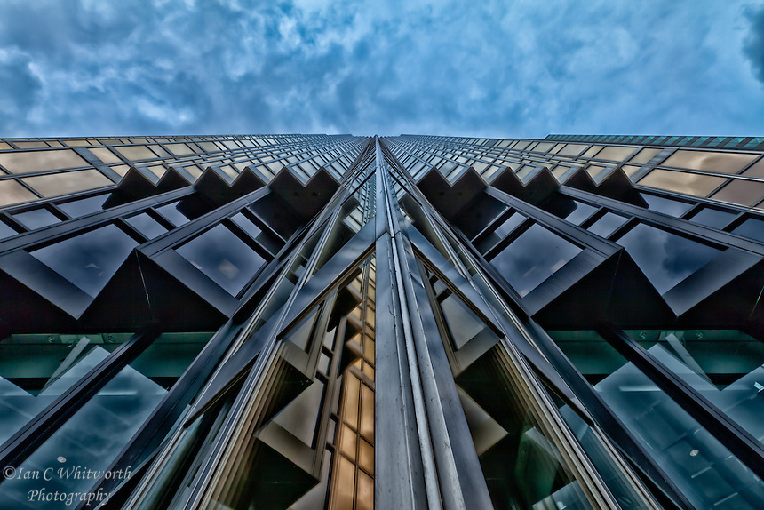 Looking skyward up the face of the Royal Bank tower in downtown Toronto.