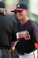 Atlanta Braves Hall of Fame pitcher Tom Glavine tips his cap as he is introduced prior to a Spring Training game against the New York Yankees on Wednesday, March 18, 2015, at Champion Stadium at the ESPN Wide World of Sports Complex in Lake Buena Vista, Florida. The Yankees won, 12-5. (Tom Priddy/Four Seam Images)