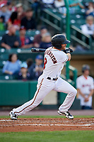 Rochester Red Wings second baseman Taylor Featherston (8) follows through on a swing during a game against the Pawtucket Red Sox on May 19, 2018 at Frontier Field in Rochester, New York.  Rochester defeated Pawtucket 2-1.  (Mike Janes/Four Seam Images)