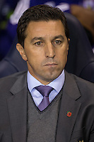 R.S.C Anderlecht Manager Besnik Hasi during the UEFA Europa League Group J match between Tottenham Hotspur and R.S.C. Anderlecht at White Hart Lane, London, England on 5 November 2015. Photo by Andy Rowland.