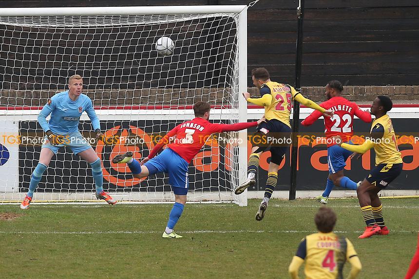 Sam Ashford of Woking scores the first goal for his team during Dagenham & Redbridge vs Woking, Vanarama National League Football at the Chigwell Construction Stadium on 3rd May 2021
