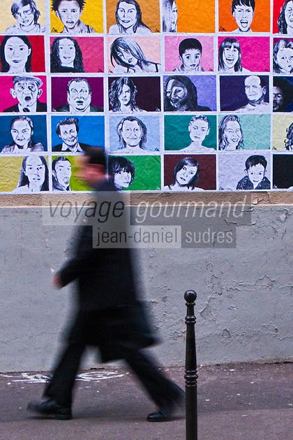 Europe/France/Ile de France/75011/Paris:  Street-art &Scènes de vie urbaine rue Jean Aicard [Non destiné à un usage publicitaire - Not intended for an advertising use] // Europe/France/Ile de France/75011/Paris: Europe/France/Ile de France/75011/Paris:  Street-art &Scènes de vie urbaine rue Jean Aicard [Non destiné à un usage publicitaire - Not intended for an advertising use]