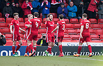 Aberdeen v St Johnstone…31.03.18…  Pittodrie    SPFL<br />Stevie May celebrates his goal<br />Picture by Graeme Hart. <br />Copyright Perthshire Picture Agency<br />Tel: 01738 623350  Mobile: 07990 594431