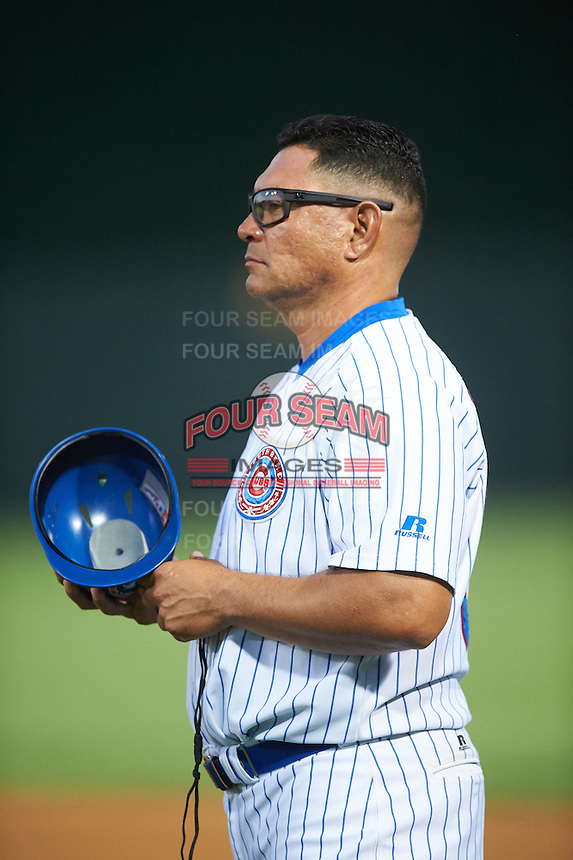 South Bend Cubs coach Ricardo Medina (36) during a game against the Burlington Bees on July 22, 2016 at Four Winds Field in South Bend, Indiana.  South Bend defeated Burlington 4-3.  (Mike Janes/Four Seam Images)