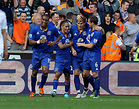 FAO SPORTS PICTURE DESK<br /> Pictured: Nikica Jelavic of Everton (3rd L) celebrating his goal with team mates L-R Silvain Distin, Steven Pienaar and Phil Jagielka. Saturday, 24 March 2012<br /> Re: Premier League football, Swansea City FC v Everton at the Liberty Stadium, south Wales.