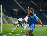 29th December 2020; Deepdale Stadium, Preston, Lancashire, England; English Football League Championship Football, Preston North End versus Coventry City; Matthew Godden of Coventry City is unable to keep the ball in play