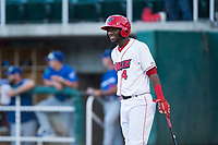 Orem Owlz center fielder D'Shawn Knowles (4) during a Pioneer League game against the Ogden Raptors at Home of the OWLZ on August 24, 2018 in Orem, Utah. The Ogden Raptors defeated the Orem Owlz by a score of 13-5. (Zachary Lucy/Four Seam Images)
