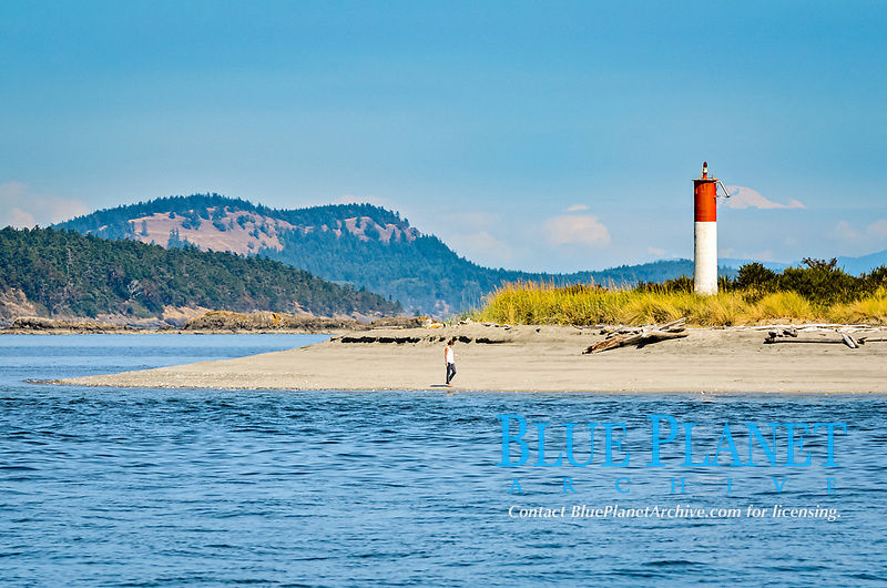 Light beacon, Sidney Spit, Sidney Island, Gulf Islands National Park, British Columbia, Canada