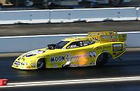 Feb 8, 2014; Pomona, CA, USA; NHRA funny car driver Jeff Arend during qualifying for the Winternationals at Auto Club Raceway at Pomona. Mandatory Credit: Mark J. Rebilas-