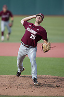 Bellarmine Knights relief pitcher Anthony Ethington (35) in action against the Liberty Flames at Liberty Baseball Stadium on March 9, 2021 in Lynchburg, VA. (Brian Westerholt/Four Seam Images)