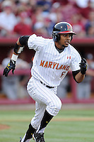 First baseman LaMonte Wade (6) of the Maryland Terrapins in an NCAA Division I Baseball Regional Tournament game against the South Carolina Gamecocks on Saturday, May 31, 2014, at Carolina Stadium in Columbia, South Carolina. Maryland won, 4-3. (Tom Priddy/Four Seam Images)