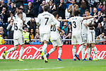 Real Madrid Federico Valverde, Mariano Diaz, Marco Asensio, Mariano Diaz and Javi Sanchez celebrating a goal during King's Cup match between Real Madrid and U.D. Melilla at Santiago Bernabeu Stadium in Madrid, Spain. December 06, 2018. (ALTERPHOTOS/Borja B.Hojas)