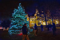 The Christmas tree at Otterbein University in front of Towers Hall.
