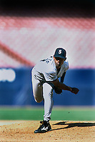Salomon Torres of the Seattle Mariners at Anaheim Stadium in Anaheim,California during the 1996 season. (Larry Goren/Four Seam Images)