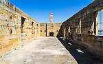Cockatoo Island, Sydney, NSW, Australia. One of the sand stone building built by convicts. <br /> <br /> Cockatoo Island, together with 10 other historic convict sites in Australia, was inscribed on the UNESCO World Heritage List. The sites were recognised as the best surviving examples of large-scale convict transportation and the colonial expansion of European powers through the presence and labour of convicts.