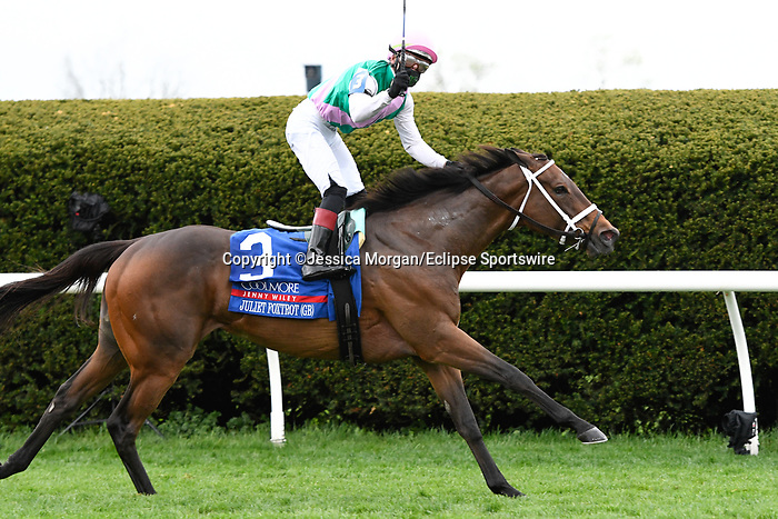 April 10, 2021: Juliet Foxtrot (GB) #3, ridden by jockey Tyler Gaffalione wins the Coolmore Jenny Wiley Stakes (Grade 1) on the turf at Keeneland in Lexington, Kentucky on April 10, 2021. Jessica Morgan/Eclipse Sportswire/CSM