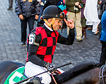 """ELMONT, NEW YORK - SEPT 30:  Beach Patrol #5, ridden by Joel Rosario , wins the Joe Hirsch Turf Classic Invitational, a """"Win & You're In' event, at Belmont Park on September 30, 2017 in Elmont, New York. ( Photo by Sue Kawczynski/Eclipse Sportswire/Getty Images)"""