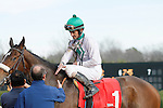 """Jockey Robby Albarado greets trainer Eoin G. Harty after a 1st place finish aboard """"Liberty Girl"""" in the 3rd race at Oaklawn Park  . (Justin Manning/Eclipse Sportswire)"""